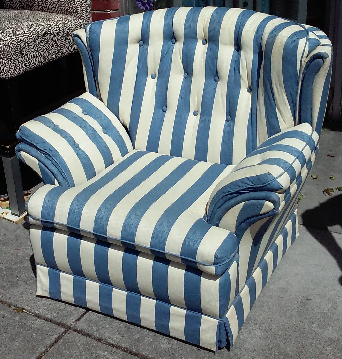 blue and white striped chair ikea long covers uhuru furniture collectibles sold bold