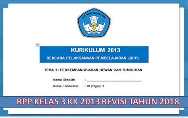 RPP Kelas 3 SD/MI Kurikulum 2013 Revisi 2018