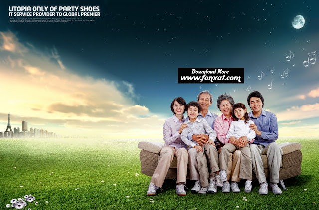 free PSD download : Family amid greenery