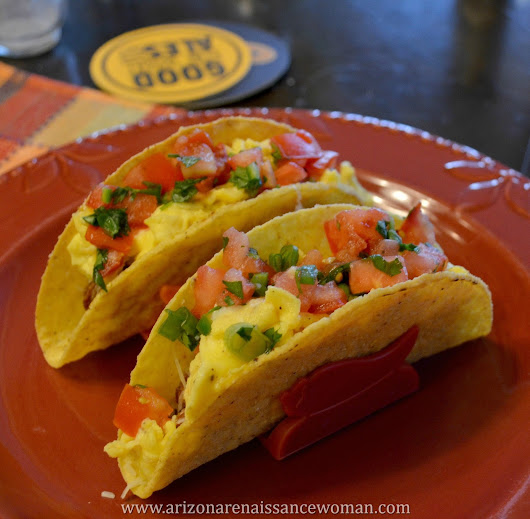 75. Tempeh Chorizo and Egg Tacos with Pepper-Jack Cheese and Green Onion Pico de Gallo