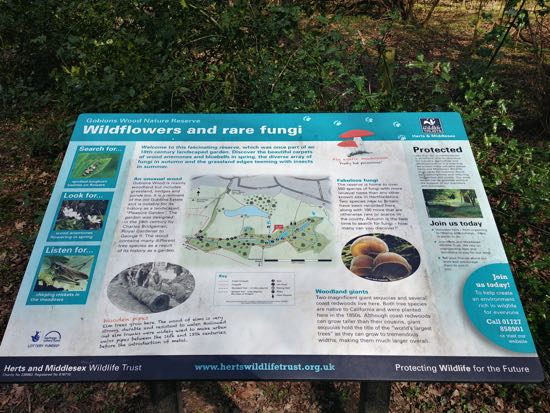 Photograph of one of the information signs in Gobions Wood Image by Hertfordshire Walker released under Creative Commons BY-NC-SA 4.0
