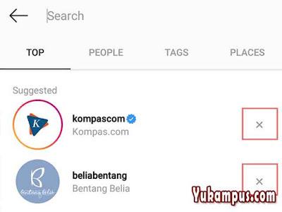 riwayat pencarian instagram