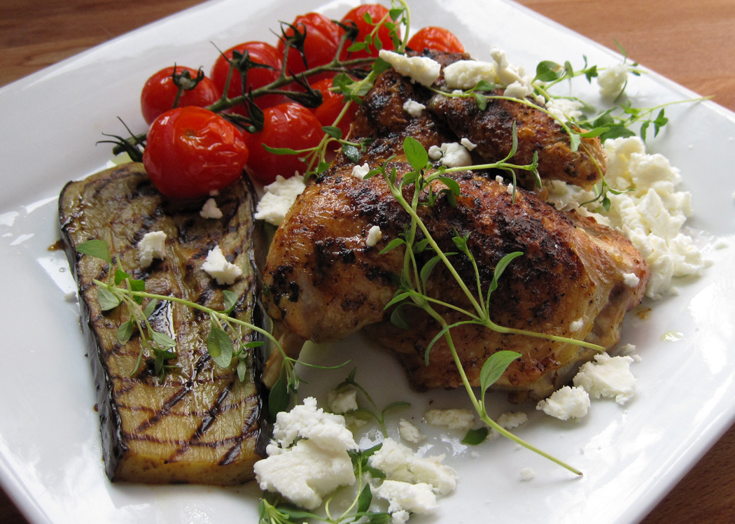 Spatchcock Chicken with Aubergine, Roasted Tomatoes and Feta
