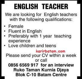 Lowongan Kerja Guru Bahasa Inggris Lowongan Kerja Batam 2018