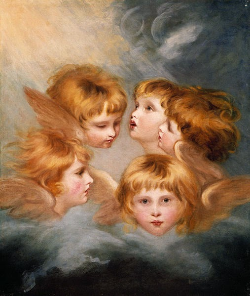 A Child's Portrait in Different Views: Angel's Heads by Joshua Reynolds, 1786-7