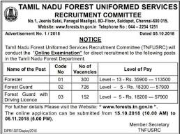 Tamil Nadu Forest Department 1178 Forester, Forest Guard, Driver Recruitment 2018 Govt Jobs Online