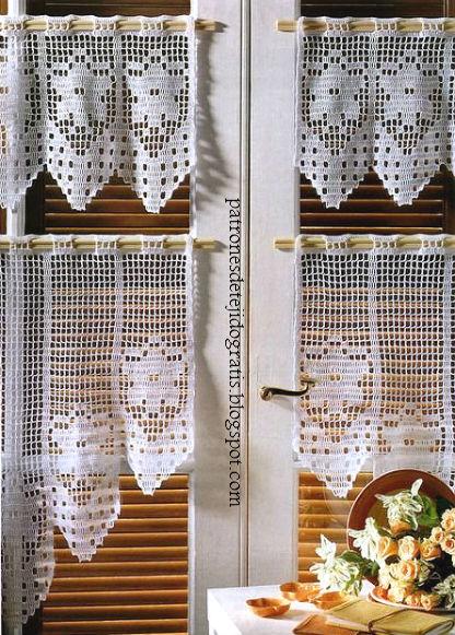 10 patrones de cortinas y cenefas crochet filet   Patrones para Crochet