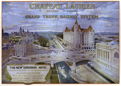 Scan of a colour advertisement by Grand Trunk Railway System for their new Chateau Laurier hotel in Ottawa, 'The New $2,000,000.00 HOTEL situated in teh heart of the Dominion Capital. Accommodation 350 rooms, Comfortably and artistically furnished; the latest in hotel construction; rates $2.00 upwards; European plan; F. W. Bergman, Manager'. The scene is a bird's eye artist's rendering looking north up the Rideau Canal with the Union Station and Chateau Laurier at right, a steam train along the east side of the Canal heading under the triangular Plaza between the Sappers' and Dufferin bridges (which has a statue in the middle) with the Alexandra (Interprovincial) bridge in the distance, two steam boats on the Canal near the centreline. At the left side of the Plaza is the Post Office building,  and various other buildings, and the Parliament buildings (Centre and East blocks). Depicted on the plaza are plenty of tiny people, including a group of red-coat military men, various horse-drawn cards, streetcars, motorcars, and plenty o fpeople walking and standing around. The Gatineau Hills are visible on the horizon, and blue-grey clouds with afternoon sun is depicted in the sky.