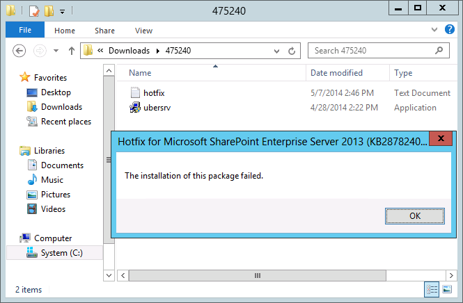 sharepoint 2013 cu the installation of this package failed