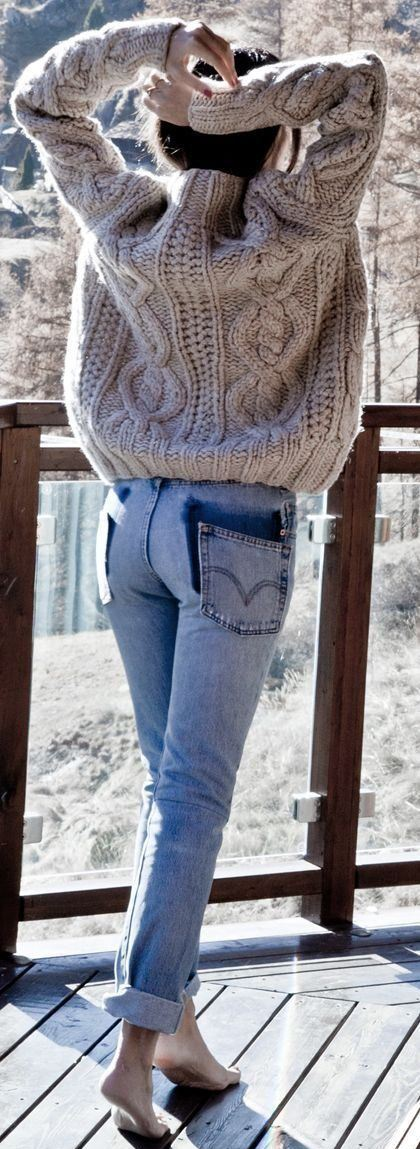 knit sweater + jeans