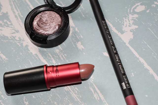 MAC makeup products - lipstick, eye shadow and lip liner