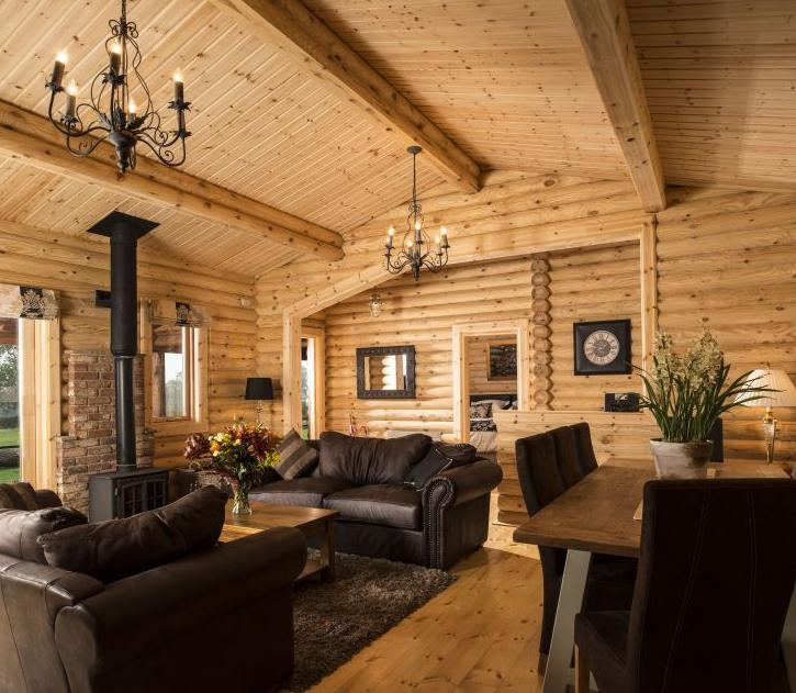 casas de madera natural troncos redondos