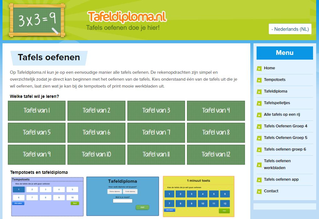 De 39 tafels oefenen 39 website 39 tafeldiploma 39 voor groep 4 5 for Www tafel oefenen nl