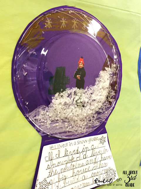 Snow globe winter writing prompt and bulletin board display.