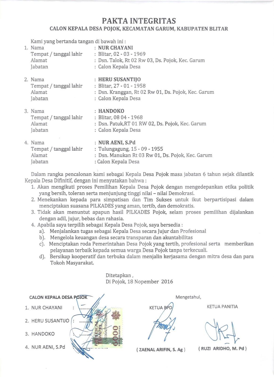 ppkgarum pakta integritas calon kepala desa pojok