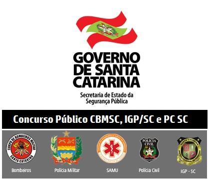 Governo do Estado-SC autoriza concurso CBMSC, IGP e PCSC