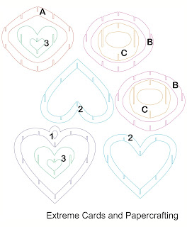 lattice sliceform heart piece template pieces