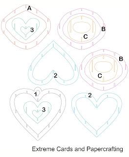 lattice sliceform heart piece template pieces