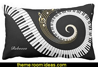 Personalized Piano Keys and Gold Music Notes Throw Pillow Cases