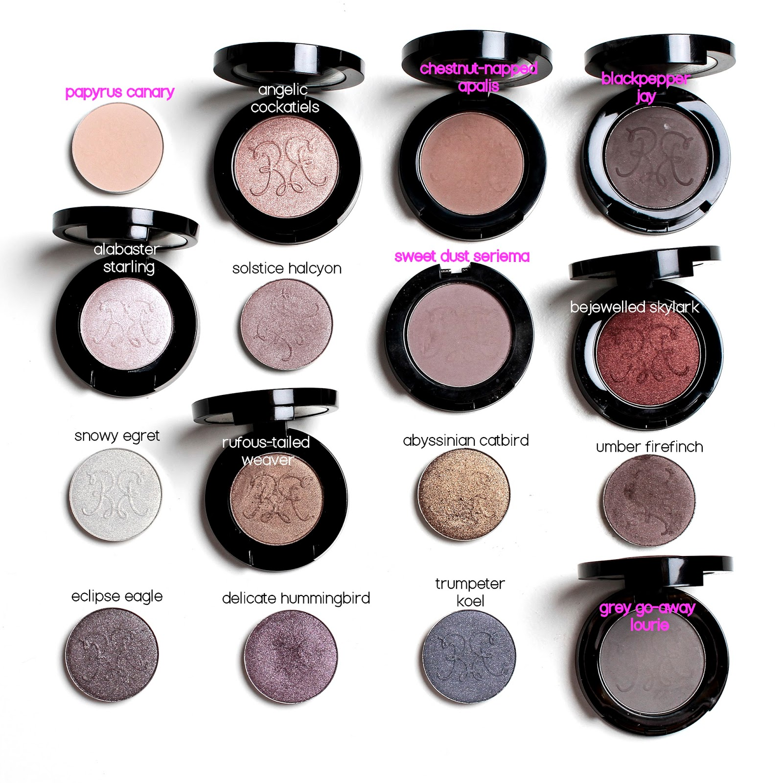 photo of 16 neutral RBR eyeshadows including all 5 matte shades
