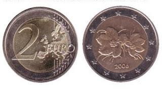 väärällä kartalla painettu vuoden 2006 kahden euron kolikko