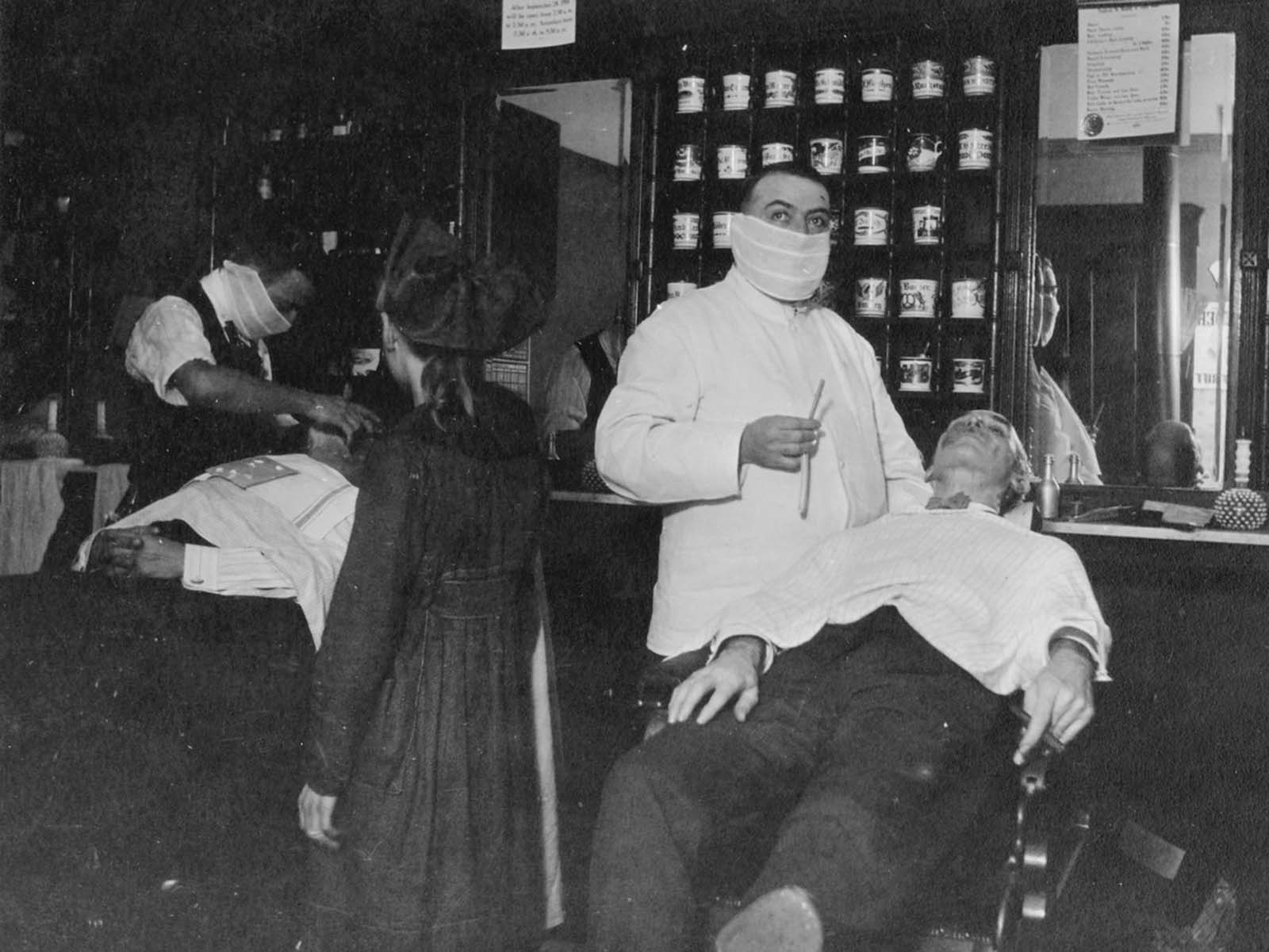 To prevent as much as possible the spread of influenza, Cincinnati barbers wore masks. Barbers all over the country took this precaution.