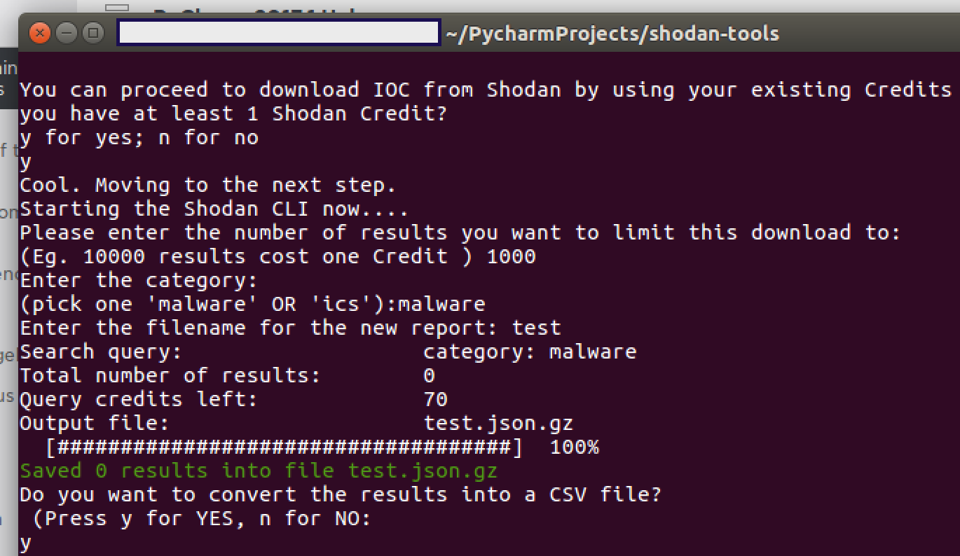 can use to download ioc reports using your shodan credits the scripts are pretty straight forward and interactive so there should be no dramas at all