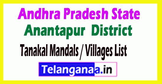 Tanakal Mandal Villages Codes Anantapur District Andhra Pradesh State India