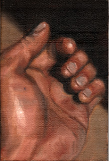 Oil painting of a hand viewed across the palm with the fingers facing towards the viewer.
