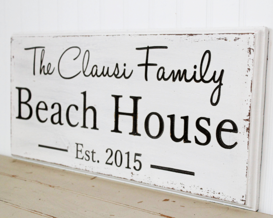 Custom Beach House Wood Signs Farmhouse Style Rustic Wall Decor Sign