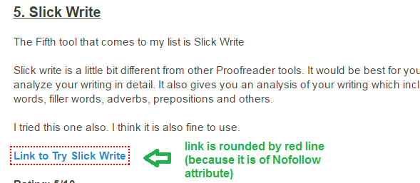 Nofollow links example