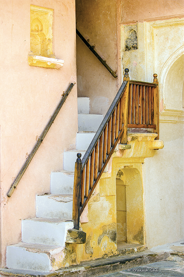 A minimalist photo of A Staircase at Amber Fort, Jaipur.