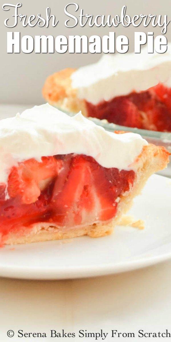 A slice of Homemade Strawberry Pie on a white pie plate.