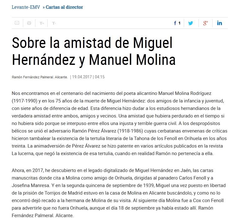 Manuel molina centenario nacimiento sobre la amistad de miguel hern ndez y manuel molina en - Periodico levante el mercantil valenciano ...