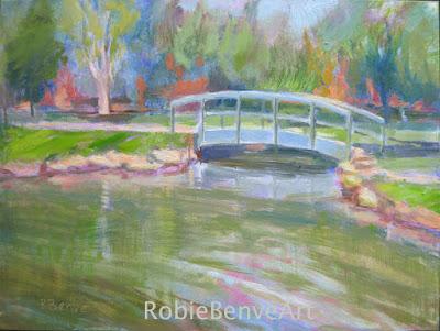 Schiller Park Bridge oil landscape by Robie Benve