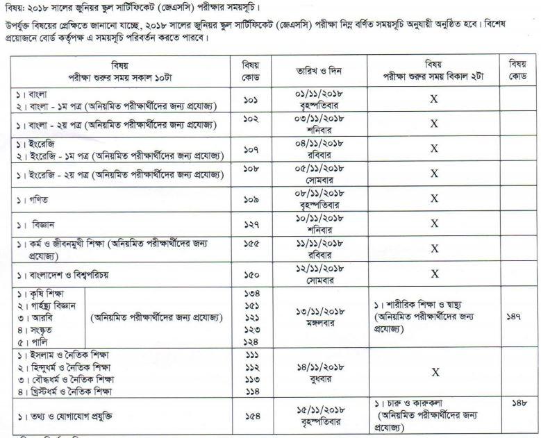 JSC Routine 2018 for Dhaka / Chittagong / Comilla / Barisal / Dinajpur / Jessore / Rajshahi / Sylhet Board