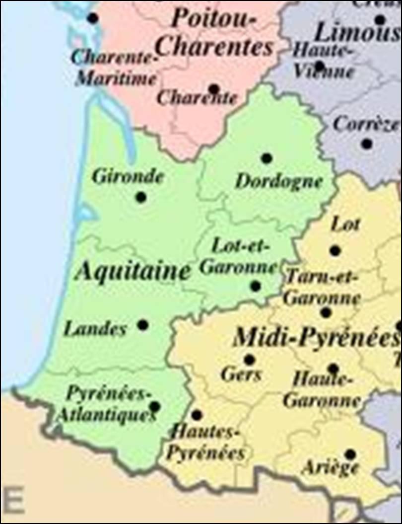 Kaart Frankrijk Departementen Regio S Kaart Aquitaine En Bordeaux