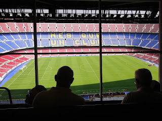 De commentatorruimte in Camp Nou