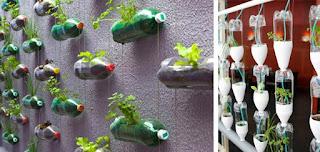 Maceteros colgantes y verticales con botellas de plástico para interiores