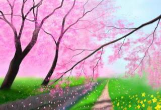 Gambar Kartun Taman Bunga Sakura