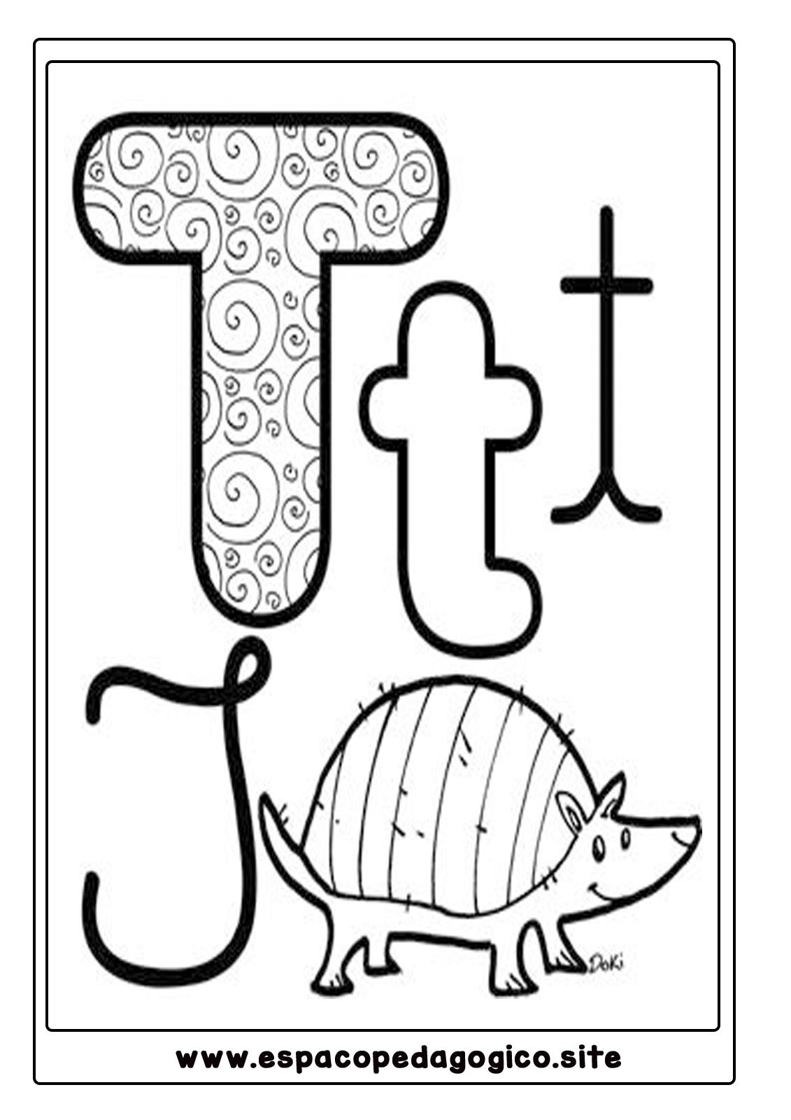 Lindo Alfabeto Ilustrado Para Colorir Pintar Imprimir Espaco