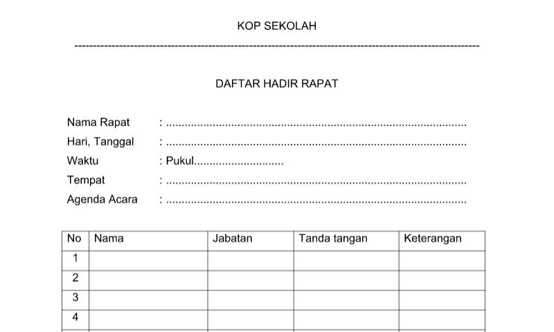 Format Daftar Hadir Pertemuan Rapat pada Administrasi Tata UsahaSekolah (TU)