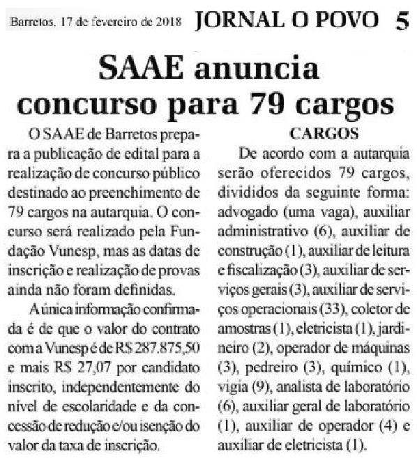 SAAE Barretos-SP anuncia concurso para 79 cargos, veja quais cargos e quantas vagas em cada um, o concurso será realizado pela VUNESP