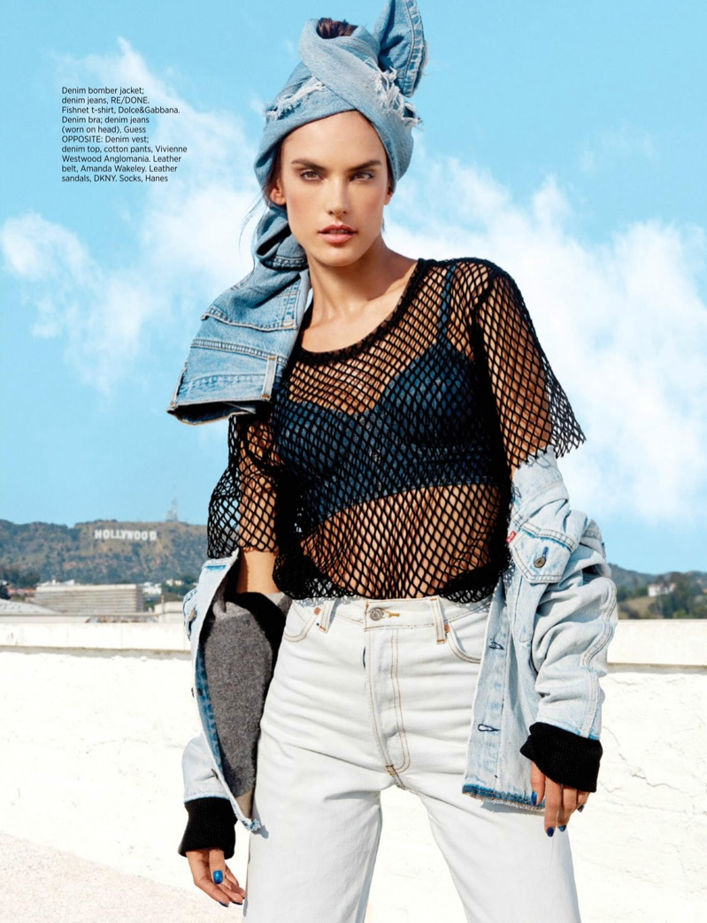Alessandra Ambrosio Rocks Edgy Denim Looks for Harper's Bazaar Singapore