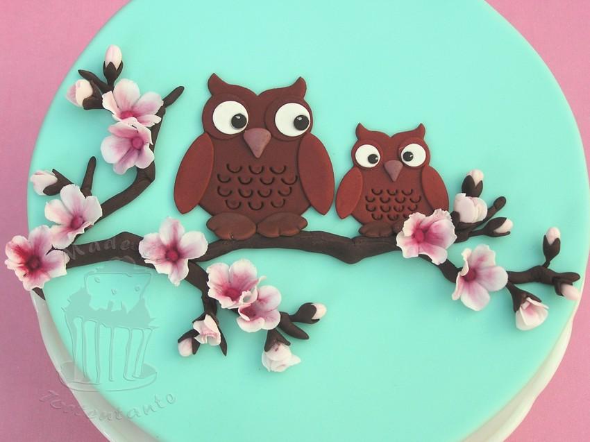 Motivtorte owls gumpaste fondant cake