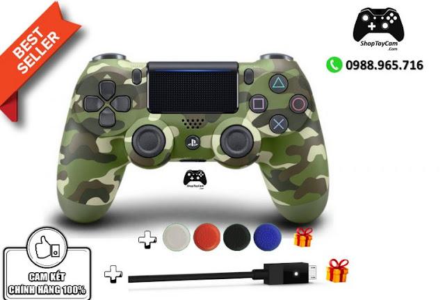 Tay Cầm Sony DualShock 4 PS4 Chĩnh Hãng Màu Rằn Ri Green Camo + Cáp USB Chơi Game Tối Ưu Cho PC / FO4 / FIFA