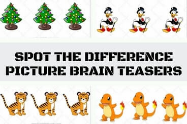 Picture Brain Teasers to spot the difference between three pictures