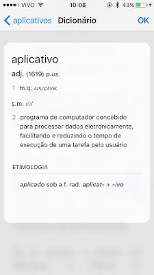 Dicionário no iPhone