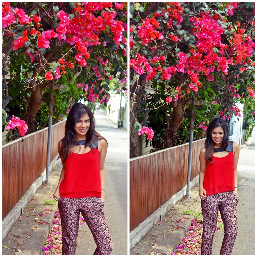 pink pants, red top, colourblock, jacquard pants,