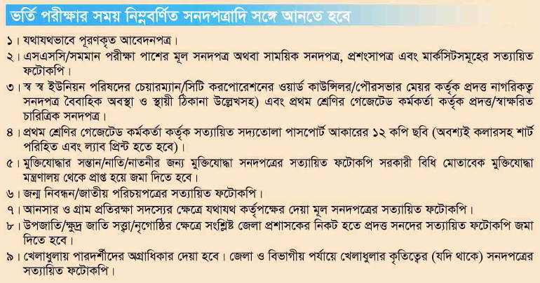 Bangladesh Air Force MODC Recruitment Exam Important Documents